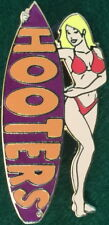 HOOTERS RESTAURANT Sexy BLOND Waitress RED Bikini Girl PURPLE Surfboard PIN