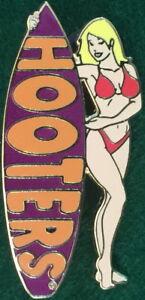 HOOTERS RESTAURANT Sexy BLOND Waitress RED Bikini Girl PURPLE Surfboard PIN