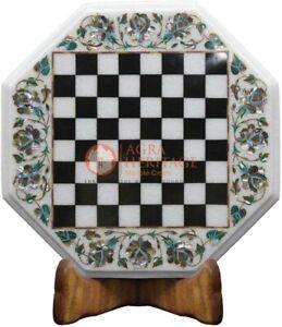 "13""x13"" Marble White Chess Mosaic Table Top Pauashell Inlay Art Columbus Gift"