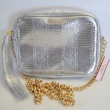 New Victoria's Secret Fashion Crossbody Evening Bag Faux Silver Snake Gold Chain