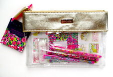Lilly Pulitzer Agenda Bonus Pack Stickers Pens Zip Pouch Wild Confetti Gold NWT
