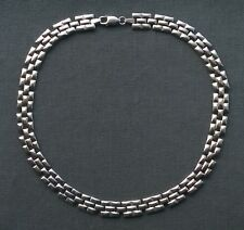 "SILVER HEAVY NECKLACE 18"" SUPERB SOLID 925 BRICK"