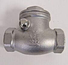 NEW 3/4 INCH FNPT SWING CHECK VALVE 304 SS (CF8) 200 PSI WOG NIB