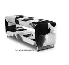 Small narrow Cowhide leather seating bench. Real Fur! Cow brown or black-white.