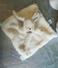 Doudou Plat carré Lapin blanc beige marron Fourrure douce  Baby'Nat Babynat neuf