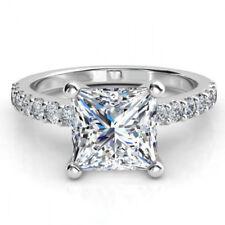 14K White Gold D/VVS1 2.50CT Princess Cut Diamond Engagement & Wedding Ring
