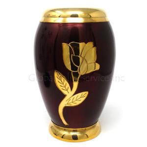 Cremation urn Rouge Doré Fleur Laiton Enterrement Pour Adulte