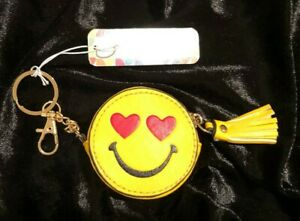 Charming Charlie RSVP Emoji Heart Smiley Face Yellow Coin Purse Charm Retail $10