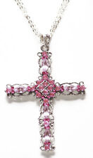 Traditional Twist Iridescent Pink Diamante Chrome Cross Pendant Necklace(Zx296)