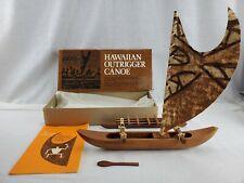 Vintage Hawaiian Outrigger Canoe Model Kit Koa Wood