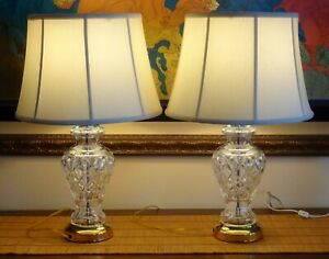 """2 WATERFORD CRYSTAL 28"""" GINGER JAR TABLE LAMPS w/ SHADES ~ MADE IN IRELAND"""