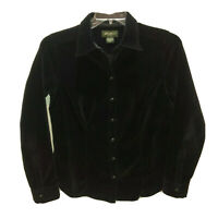 Eddie Bauer Womens Medium Black Long Sleeve Velour Snap Front Top Shirt M