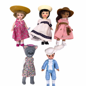 "Lot of 5 McDonald's Madame Alexander Storybook Dolls 5"" Tall 3 Girls 1 Cat 1 Boy"