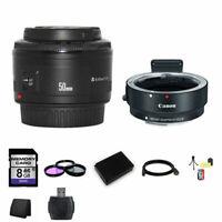 Canon EF 50mm f/1.8 II Lens w/EF-M Adaptor For EF/EF-S Lenses 8GB Package