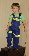 Kinder Arbeitshose Latzhose BUNDHOSE Junior 100% Baumwolle Blau Gelb/Rot +GRATIS