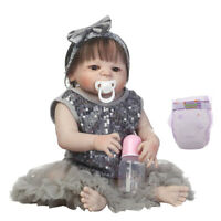 22inch Flexible Reborn Awake Baby Girl Doll w/ Brown Eyes Kids Sleeping Toy