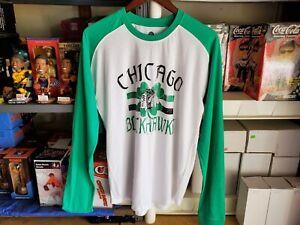NHL Chicago Blackhawks Shirt Long Sleeved Mens Sz L Green St Patty's Day NWT