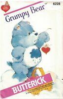 "6228 Butterick Pattern 17"" Care Bears Grumpy Bear OOP Vintage Teddy SEW"