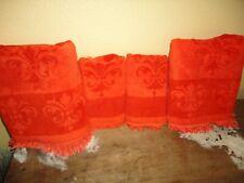 VINTAGE FIELDCREST RED ORANGE MEDALLION (4PC) BATH & HAND TOWELS SET
