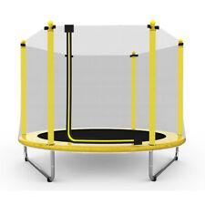 """60"""" Round Children Trampoline with Safety Net Enclosure yellow"""