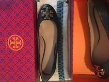 NIB TORY BURCH 'Claire' Flat Ballerina Black Leather Gold logo Shoes Size 10 M