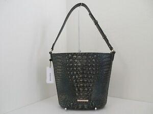 NWT AUTH BRAHMIN QUINN MELBOURNE EMBOSSED LEATHER BUCKET SHOULDER BAG-$285-AGATE