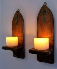 PAIR OF 32CM RUSTIC WOOD RUSTIC GOTHIC CHURCH WALL SCONCE LED CANDLE HOLDERS
