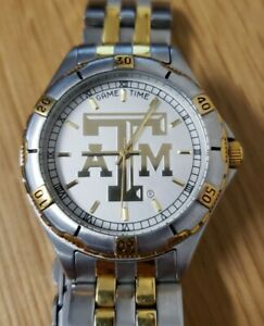 Men's Game Time Texas A&M Watch Silver & Gold Tone New Battery Exc. Condition