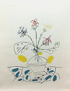 PABLO PICASSO- VASE WITH FLOWERS -.SERIGRAPH - DATED 7/12/59