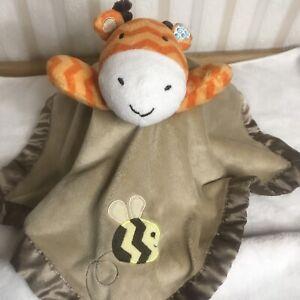 "Circo Giraffe 13"" Baby Lovey Orange Chevron Stripes Brown Security Blanket Plush"