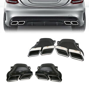 Exhaust Tip Muffler Pipe Chrome Black For Mercedes-Benz C W205 C63 AMG Style