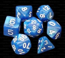 NEW 7 Piece Polyhedral Dice Set - Elven Tears Royal Blue Marble - Royal Blue Bag
