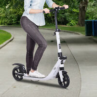 HOMCOM Folding Kick Scooter Teens Adult Ride On Adjustable 2 Big Wheels White