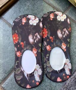 Custom Skulls Flowers No-Show Socks size 7-10