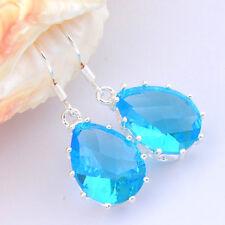 """Woman Shiny Handmade Water drop Blue Topaz Gems Silver Dangle Hoop Earrings 1.5"""""""