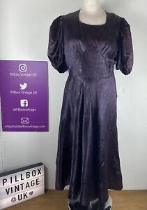 1950s Vintage Size 12 Prairie Puff Sleeve Purple Mauve Dress Floral Print