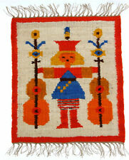 A small Polish folk art Musician wall hanging 1970's Orange 50cm New Old Stock