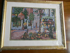 Framed EUGENE LA FORET Needlepoint FLOWER VENDER Country Village 15x19 JCA New