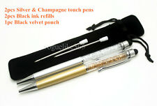 New Silver and Champagne 2pcs- CRYSTAL ELEMENTS Touch Pen Ballpoint Pen