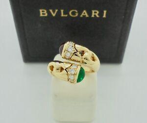 Authentic Bvlgari Bulgari Emerald Ruby Diamond Bypass 18k Yellow Gold Ring