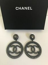 Nwt Aut Chanel Large Ruthenium Cc Logo Pearl Disk Hoop Statement Earrings W Box