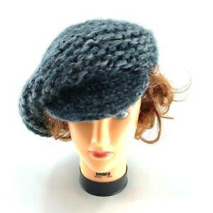 Slouch Beret Hat Flat Brim Crochet Knit Winter Hat Wool Mohair Dark Blue & Gray