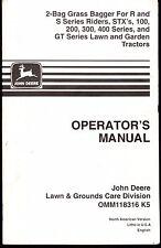 JOHN DEERE 2 BAG GRASS BAGGER R & S RIDERS, STX, GT SERIES TRACTORS OMM118316 K5