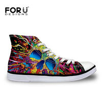 Cool Skull Mens Canvas High Top Lace Up Trainers Comfort Shoes Casual Sneakers