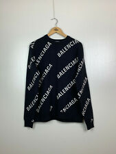 Balenciaga All Over Logo Sweater Jumper Wool Black Size L