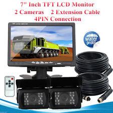 "7"" Rearview Mirror Monitor Caravan 2 Reversing Camera 4PIN System Kit CCD MASO"