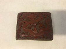 Vtg Antique Chinese Cinnabar Red Lacquer Box 5 Claw Dragon & Floral Decoration