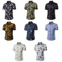 Men Hawaiian Floral Print Summer Beach Short Sleeve Casual Shirt Tops Blouse US
