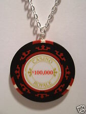 """007 Casino Royale $100,000 Poker Chip Pendant With 18"""" Silver Plated Necklace"""