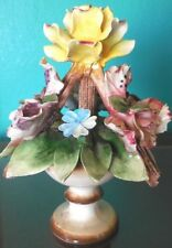 CAPODIMONTE Porcelain Rose Floral Arrangement with Stems in Vase Marked